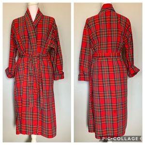 Unisex Red Tartan Plaid Robe